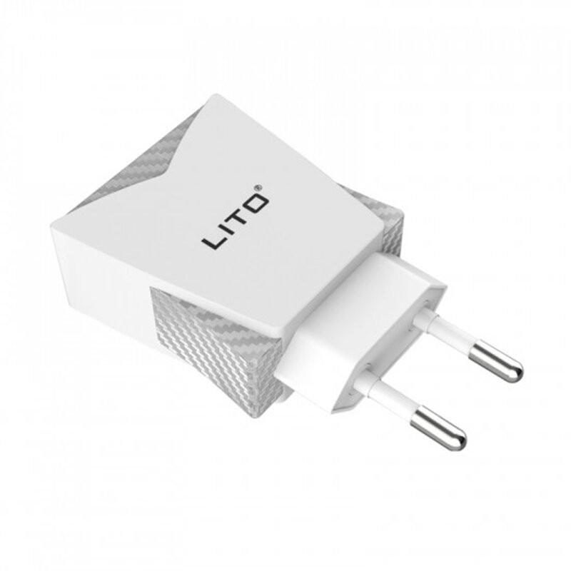 Incarcator Priza Lito CO-201 Dual USB Cu Cablu De Incarcare Lightning 2.4A - Alb